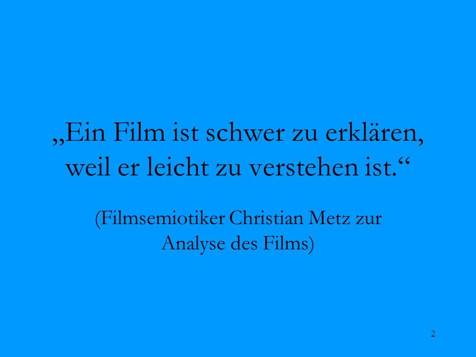 2 Ein Film ist schwer zu erklären, weil er leicht zu verstehen ist. (Filmsemiotiker Christian Metz zur Analyse des Films)