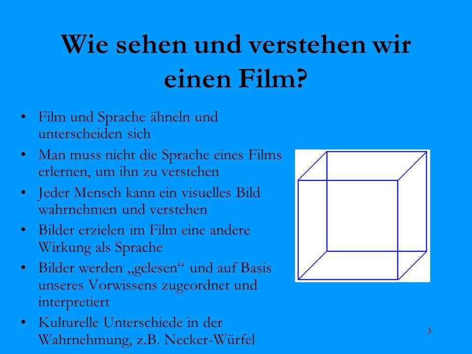 3 Wie sehen und verstehen wir einen Film? Film und Sprache ähneln und unterscheiden sich Man muss nicht die Sprache eines Films erlernen, um ihn zu ve