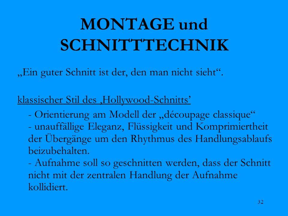 32 MONTAGE und SCHNITTTECHNIK Ein guter Schnitt ist der, den man nicht sieht. klassischer Stil des Hollywood-Schnitts - Orientierung am Modell der déc