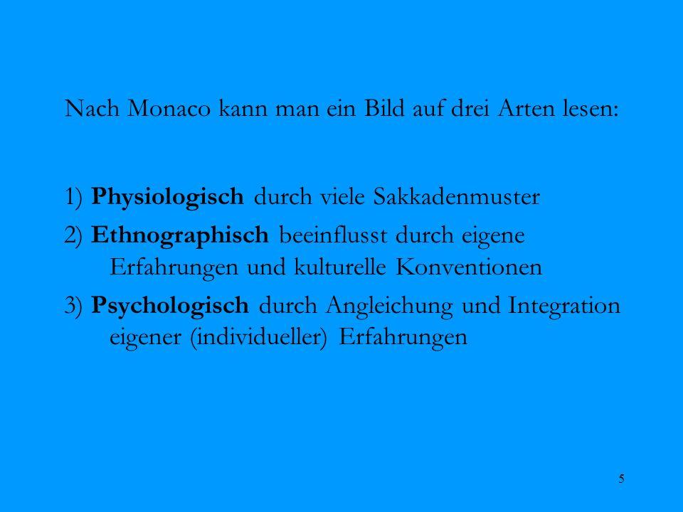 5 Nach Monaco kann man ein Bild auf drei Arten lesen: 1) Physiologisch durch viele Sakkadenmuster 2) Ethnographisch beeinflusst durch eigene Erfahrung