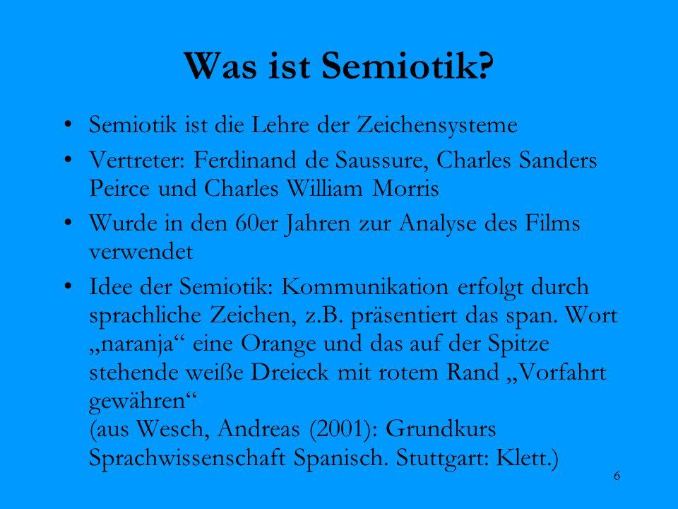 6 Was ist Semiotik? Semiotik ist die Lehre der Zeichensysteme Vertreter: Ferdinand de Saussure, Charles Sanders Peirce und Charles William Morris Wurd