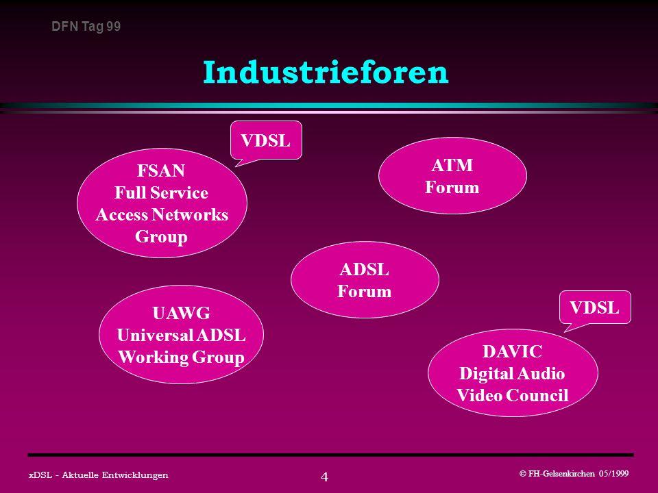 DFN Tag 99 © FH-Gelsenkirchen 05/1999 xDSL - Aktuelle Entwicklungen 5 Die HDSL-Familie Kennzeichen: symmetrische Datenraten, große Reichweiten ( > 3 km) HDSLHigh Bit Rate Digital Subscriber Line - ANSI: 1,5 Mbit/s, 2 Doppeladern - ETSI: 2,0 Mbit/s, 1-3 Doppeladern HDSL2second generation HDSL, ANSI Standard - OPTIS Linecode, 1,5 Mbit/s, 1 Doppelader SDSLSymmetric Digital Subscriber Line - ETSI Projekt, Koexistenz mit ISDN-Ba MDSLMedium Bit Rate Digital Subscriber Line - geringere Bitraten, kein Standard IDSLISDN Rate Digital Subscriber Line - 144 kbit/s, kein Standard neu !