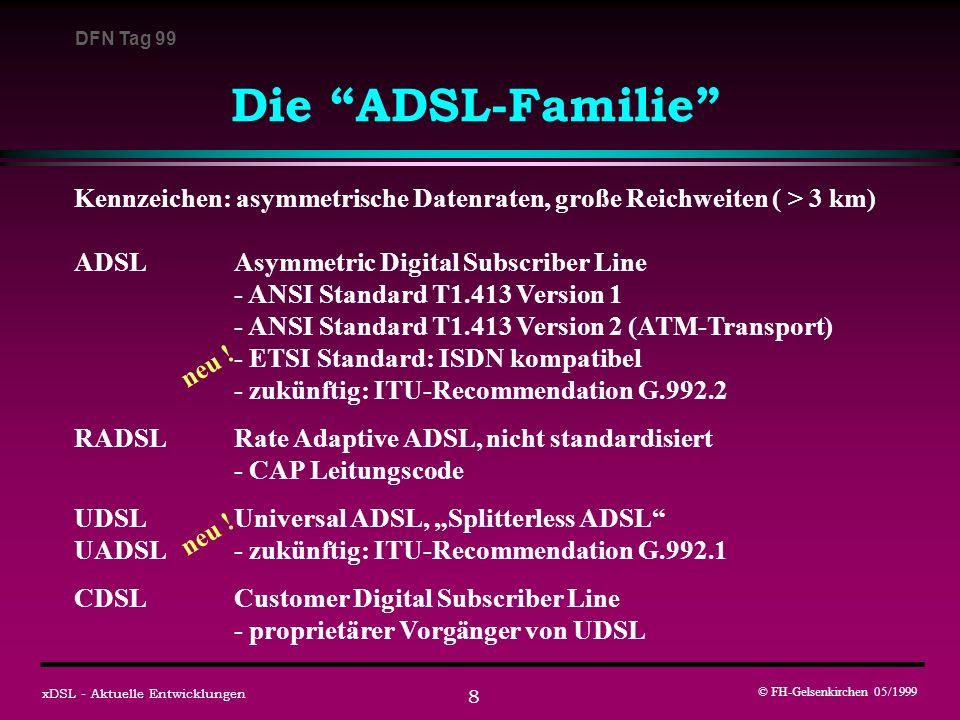 DFN Tag 99 © FH-Gelsenkirchen 05/1999 xDSL - Aktuelle Entwicklungen 8 Die ADSL-Familie Kennzeichen: asymmetrische Datenraten, große Reichweiten ( > 3 km) ADSLAsymmetric Digital Subscriber Line - ANSI Standard T1.413 Version 1 - ANSI Standard T1.413 Version 2 (ATM-Transport) - ETSI Standard: ISDN kompatibel - zukünftig: ITU-Recommendation G.992.2 RADSLRate Adaptive ADSL, nicht standardisiert - CAP Leitungscode UDSLUniversal ADSL, Splitterless ADSL UADSL- zukünftig: ITU-Recommendation G.992.1 CDSLCustomer Digital Subscriber Line - proprietärer Vorgänger von UDSL neu !