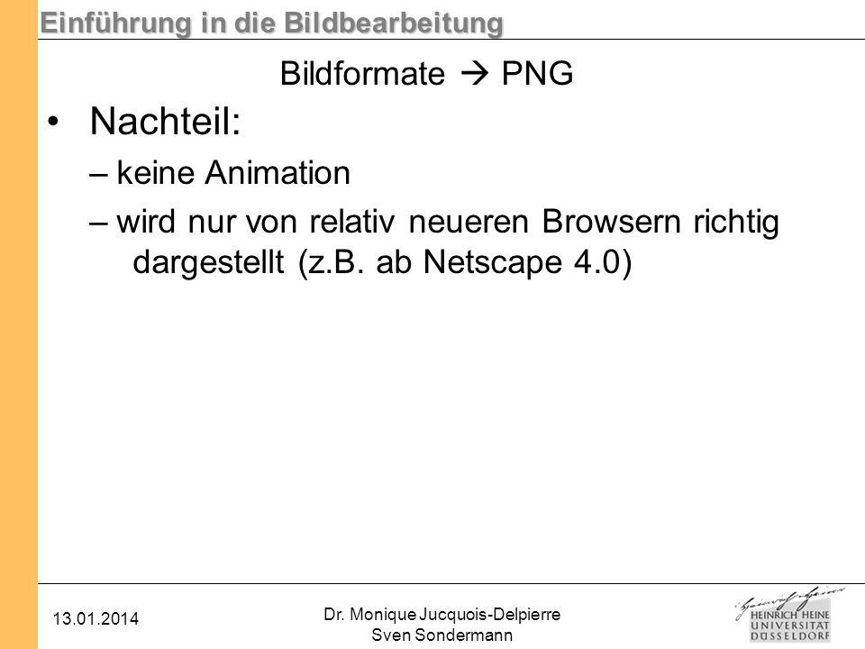Einführung in die Bildbearbeitung 13.01.2014 Dr. Monique Jucquois-Delpierre Sven Sondermann Bildformate PNG Nachteil: –keine Animation –wird nur von r