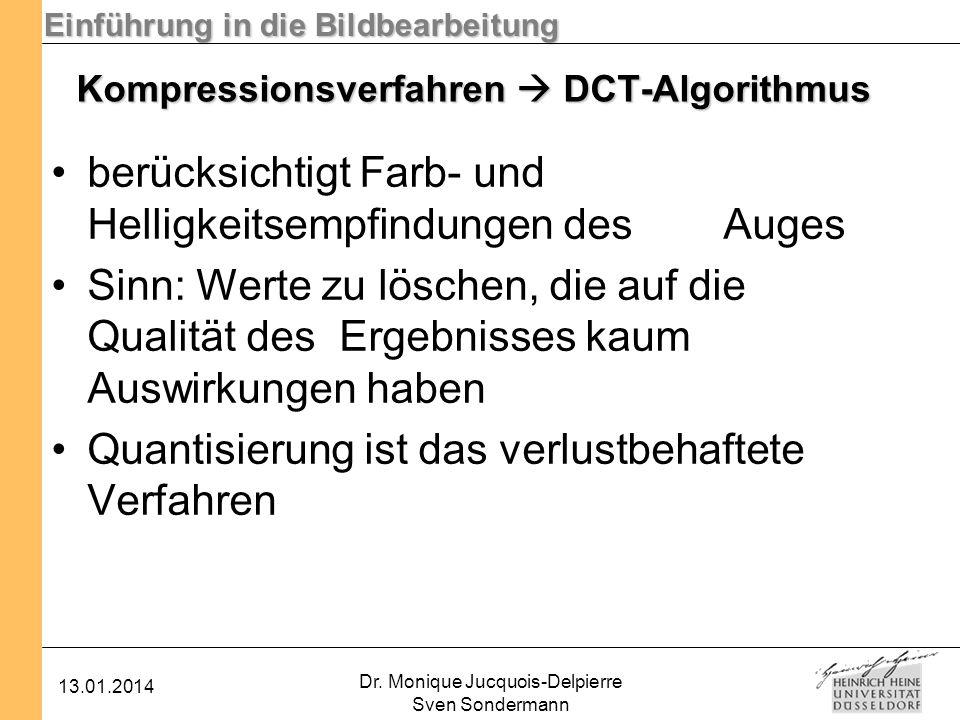 Einführung in die Bildbearbeitung 13.01.2014 Dr. Monique Jucquois-Delpierre Sven Sondermann Kompressionsverfahren DCT-Algorithmus berücksichtigt Farb-