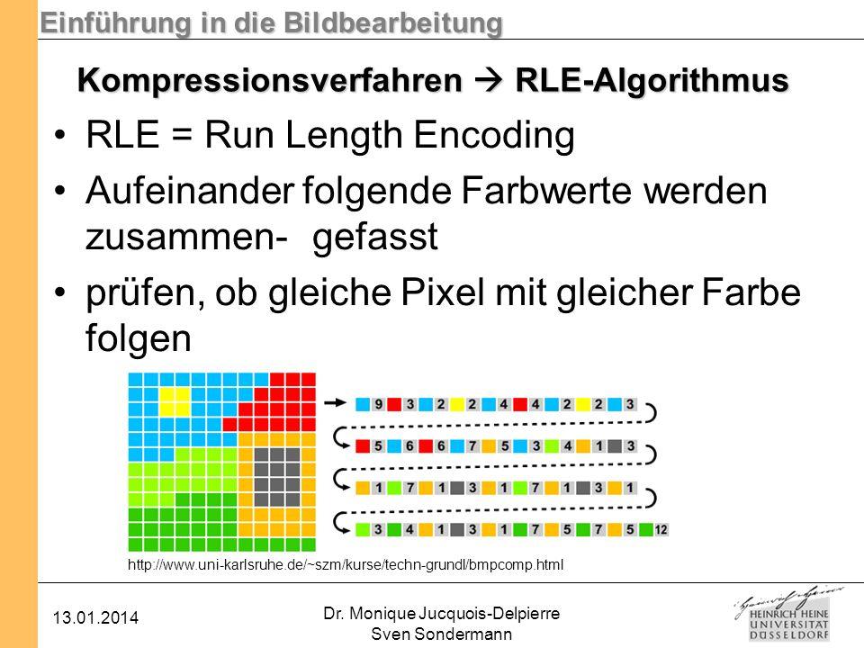 Einführung in die Bildbearbeitung 13.01.2014 Dr. Monique Jucquois-Delpierre Sven Sondermann Kompressionsverfahren RLE-Algorithmus RLE = Run Length Enc