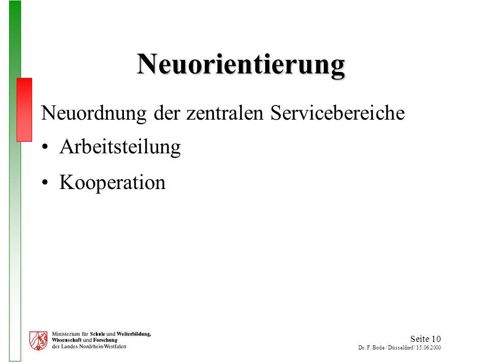 Seite 10 Dr. F. Bode / Düsseldorf / 15.06.2000 Neuorientierung Neuordnung der zentralen Servicebereiche Arbeitsteilung Kooperation