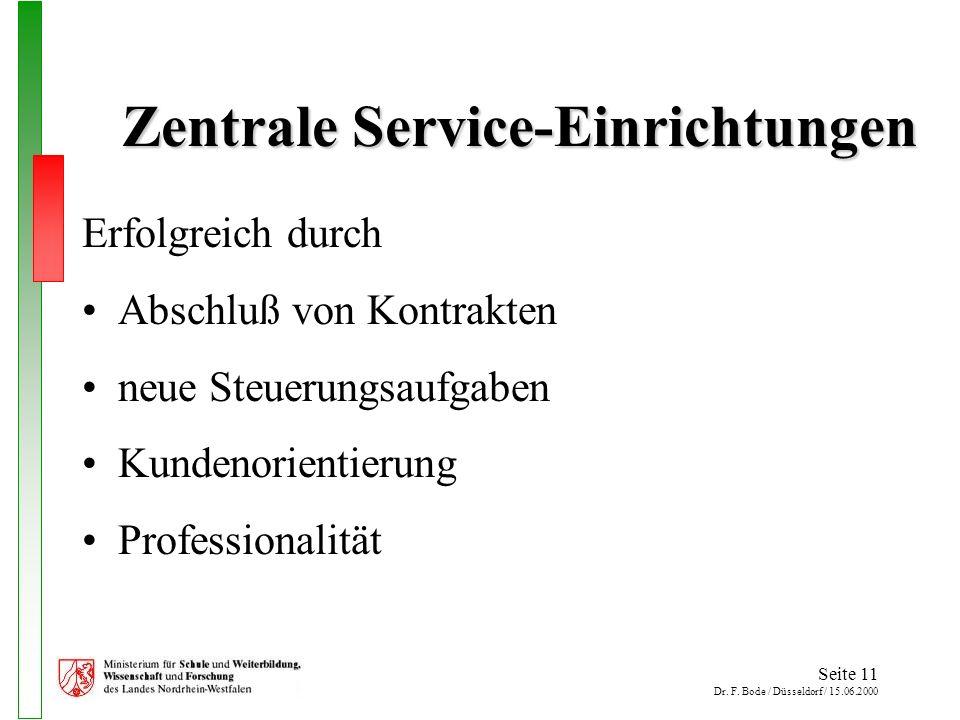 Seite 11 Dr. F. Bode / Düsseldorf / 15.06.2000 Zentrale Service-Einrichtungen Erfolgreich durch Abschluß von Kontrakten neue Steuerungsaufgaben Kunden