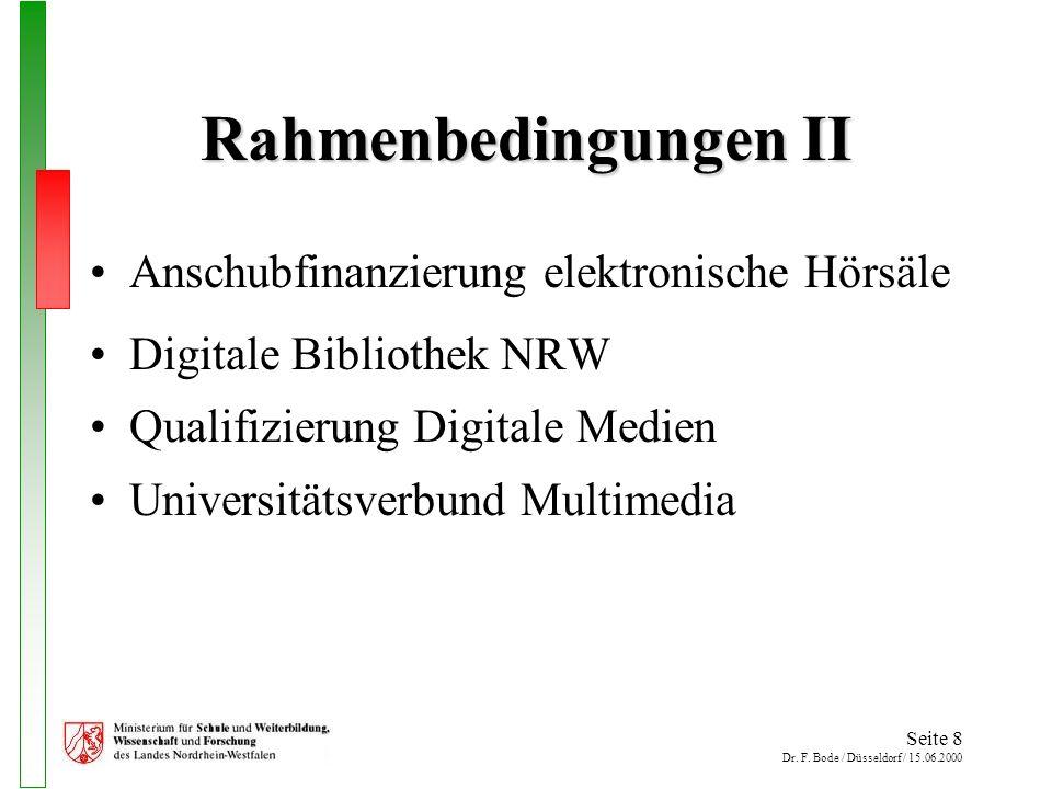 Seite 8 Dr. F. Bode / Düsseldorf / 15.06.2000 Rahmenbedingungen II Anschubfinanzierung elektronische Hörsäle Digitale Bibliothek NRW Qualifizierung Di
