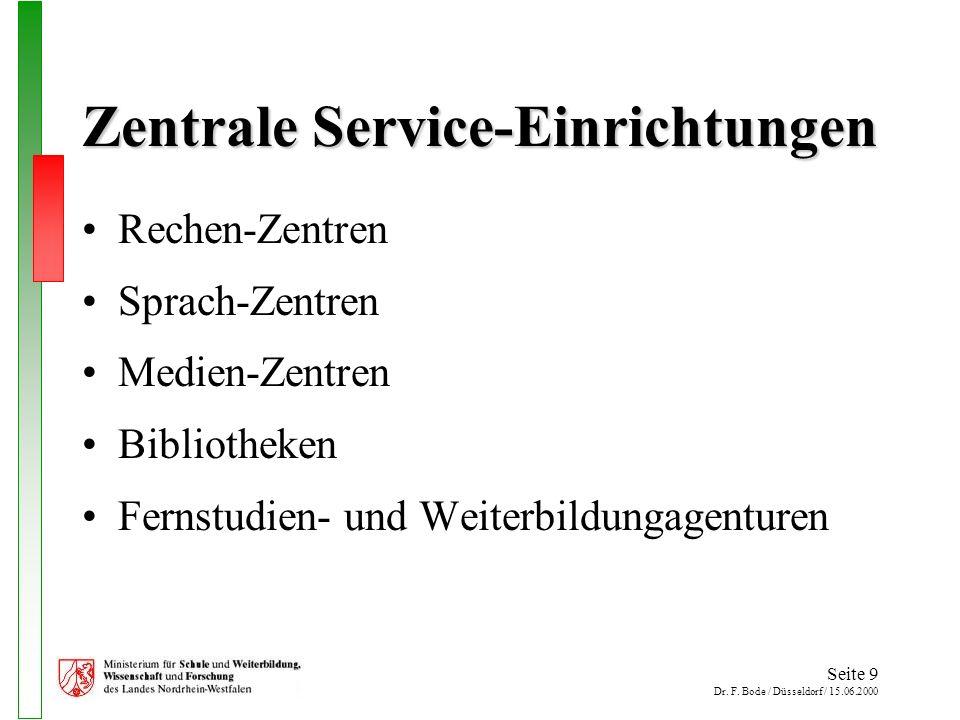 Seite 9 Dr. F. Bode / Düsseldorf / 15.06.2000 Zentrale Service-Einrichtungen Rechen-Zentren Sprach-Zentren Medien-Zentren Bibliotheken Fernstudien- un