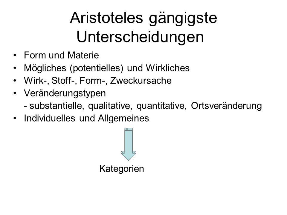 Aristoteles gängigste Unterscheidungen Form und Materie Mögliches (potentielles) und Wirkliches Wirk-, Stoff-, Form-, Zweckursache Veränderungstypen -