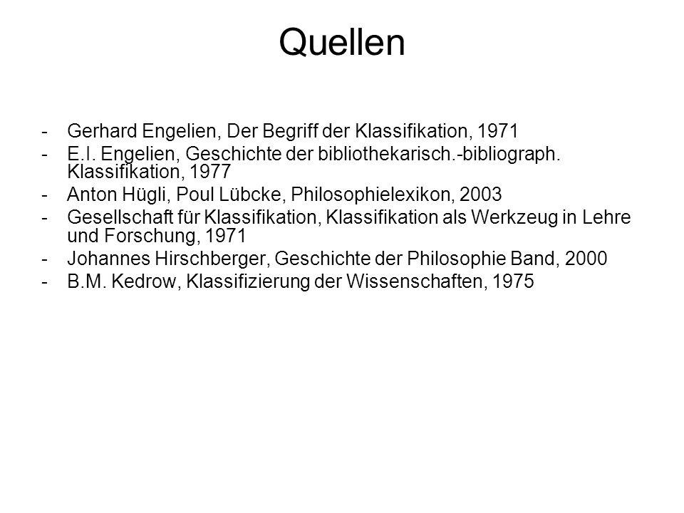 Quellen -Gerhard Engelien, Der Begriff der Klassifikation, 1971 -E.I. Engelien, Geschichte der bibliothekarisch.-bibliograph. Klassifikation, 1977 -An