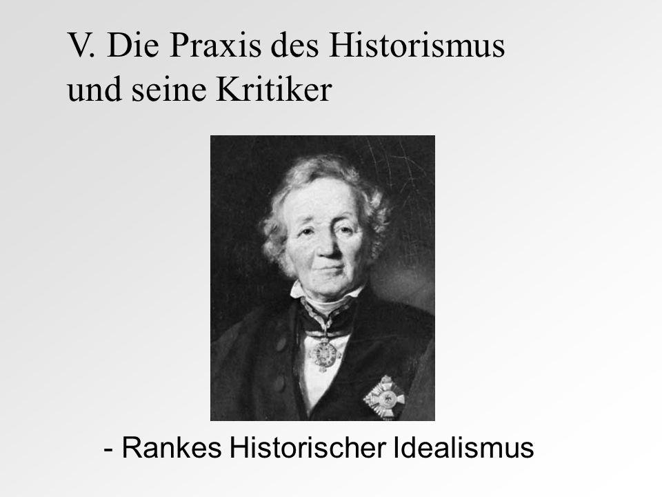- Rankes Historischer Idealismus V. Die Praxis des Historismus und seine Kritiker