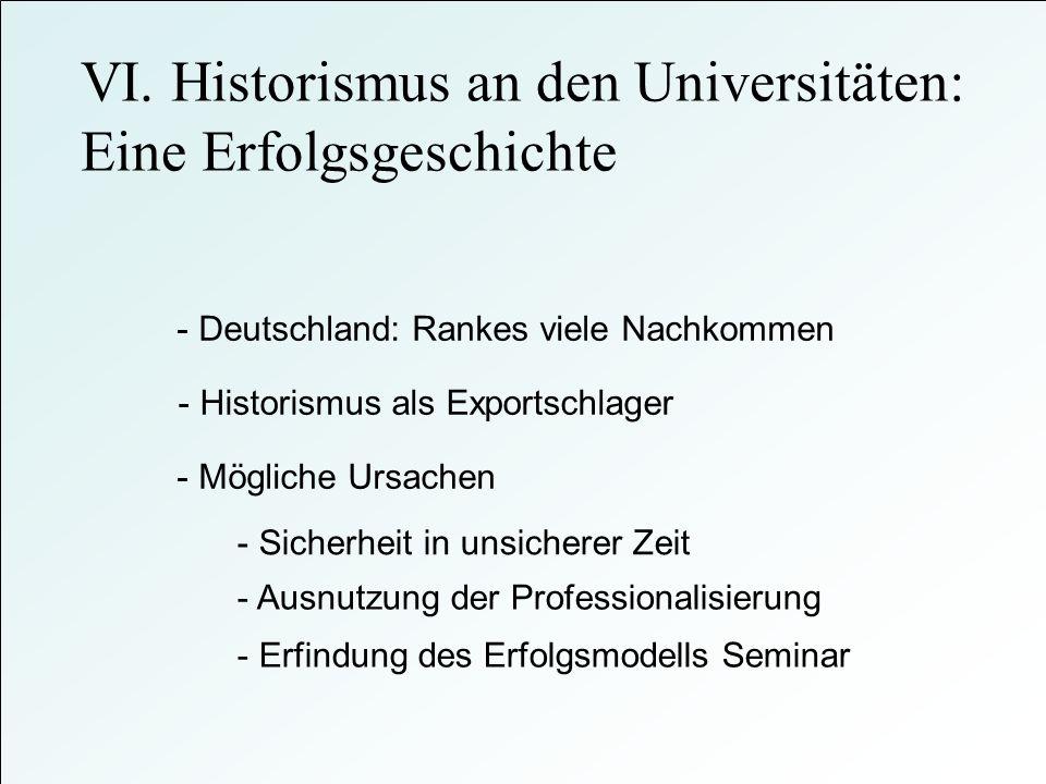 - Deutschland: Rankes viele Nachkommen - Mögliche Ursachen - Historismus als Exportschlager VI. Historismus an den Universitäten: Eine Erfolgsgeschich