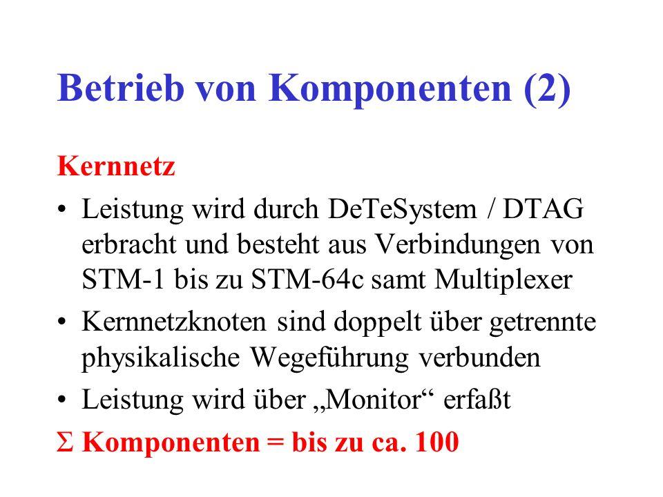 Betrieb von Komponenten (2) Kernnetz Leistung wird durch DeTeSystem / DTAG erbracht und besteht aus Verbindungen von STM-1 bis zu STM-64c samt Multiplexer Kernnetzknoten sind doppelt über getrennte physikalische Wegeführung verbunden Leistung wird über Monitor erfaßt ΣKomponenten = bis zu ca.