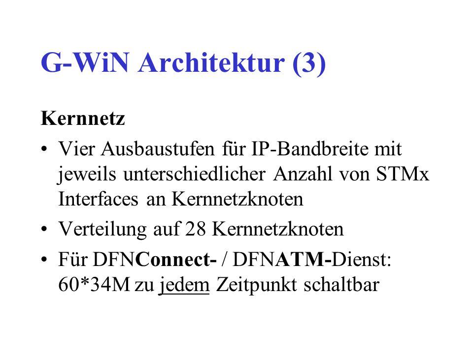 G-WiN Architektur (3) Kernnetz Vier Ausbaustufen für IP-Bandbreite mit jeweils unterschiedlicher Anzahl von STMx Interfaces an Kernnetzknoten Verteilung auf 28 Kernnetzknoten Für DFNConnect- / DFNATM-Dienst: 60*34M zu jedem Zeitpunkt schaltbar