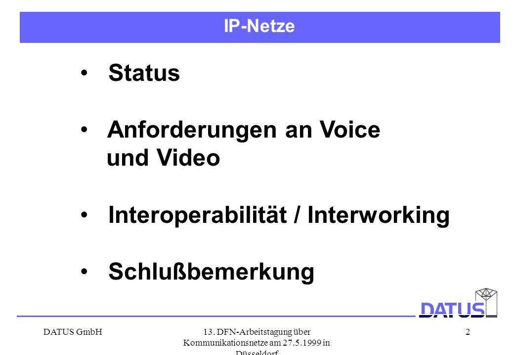 DATUS GmbH13. DFN-Arbeitstagung über Kommunikationsnetze am 27.5.1999 in Düsseldorf 2 Status Anforderungen an Voice und Video Interoperabilität / Inte