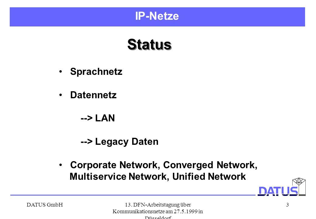 DATUS GmbH13. DFN-Arbeitstagung über Kommunikationsnetze am 27.5.1999 in Düsseldorf 3 Status Sprachnetz Datennetz --> LAN --> Legacy Daten Corporate N