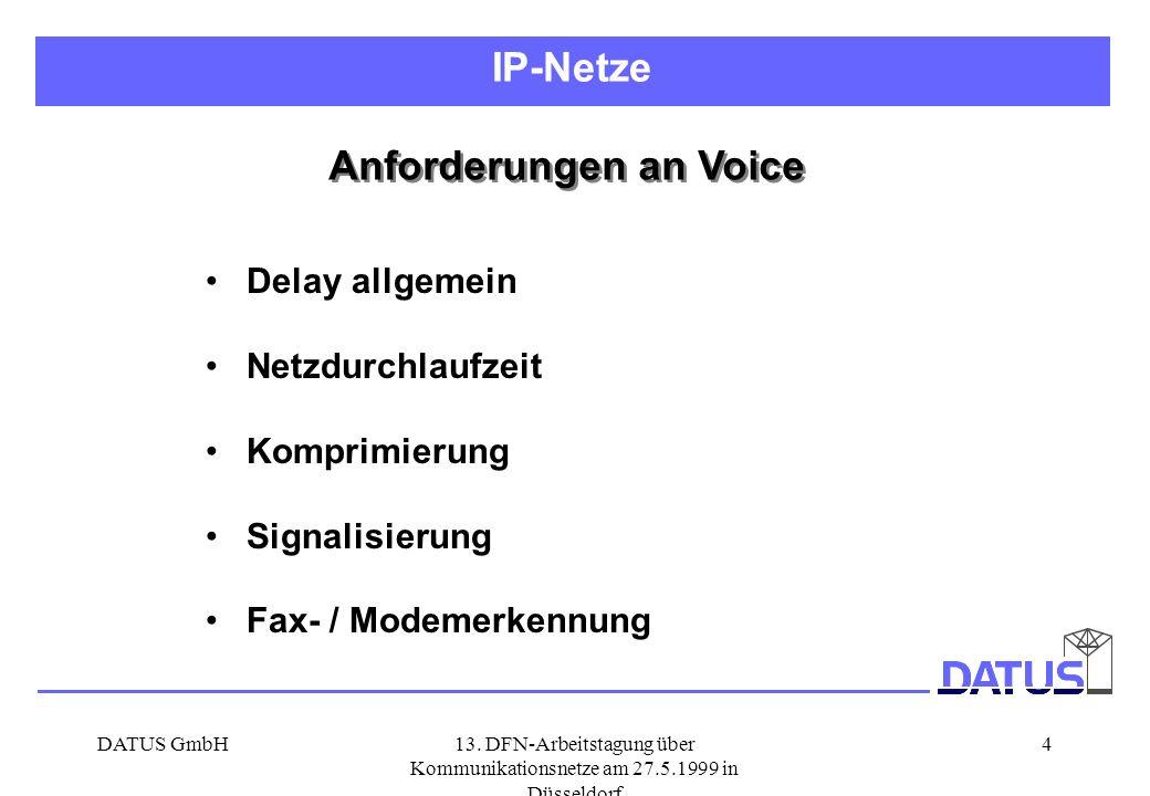DATUS GmbH13. DFN-Arbeitstagung über Kommunikationsnetze am 27.5.1999 in Düsseldorf 4 Anforderungen an Voice Delay allgemein Netzdurchlaufzeit Komprim