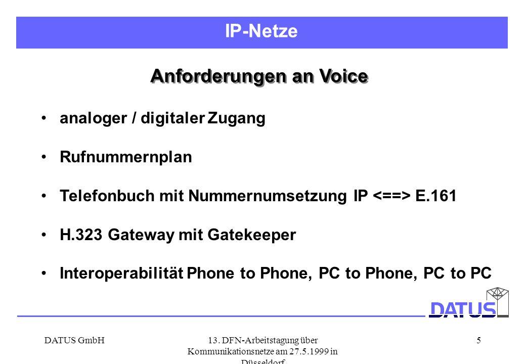 DATUS GmbH13. DFN-Arbeitstagung über Kommunikationsnetze am 27.5.1999 in Düsseldorf 5 Anforderungen an Voice analoger / digitaler Zugang Rufnummernpla