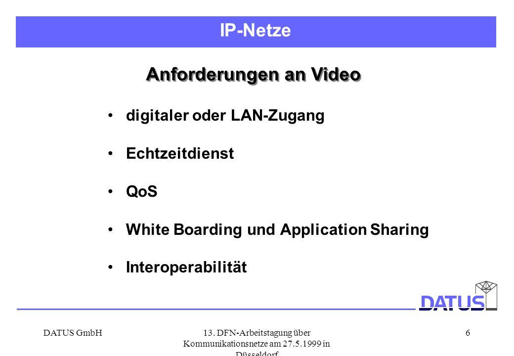 DATUS GmbH13. DFN-Arbeitstagung über Kommunikationsnetze am 27.5.1999 in Düsseldorf 6 Anforderungen an Video digitaler oder LAN-Zugang Echtzeitdienst