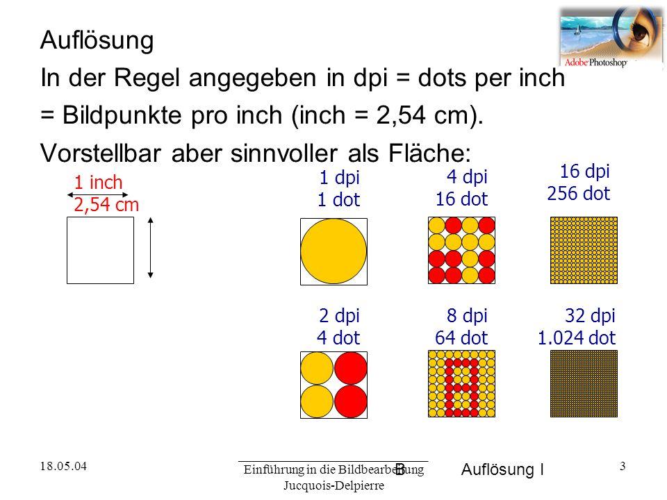 18.05.04 _____________________________ Einführung in die Bildbearbeitung Jucquois-Delpierre 3 BAuflösung I Auflösung In der Regel angegeben in dpi = dots per inch = Bildpunkte pro inch (inch = 2,54 cm).
