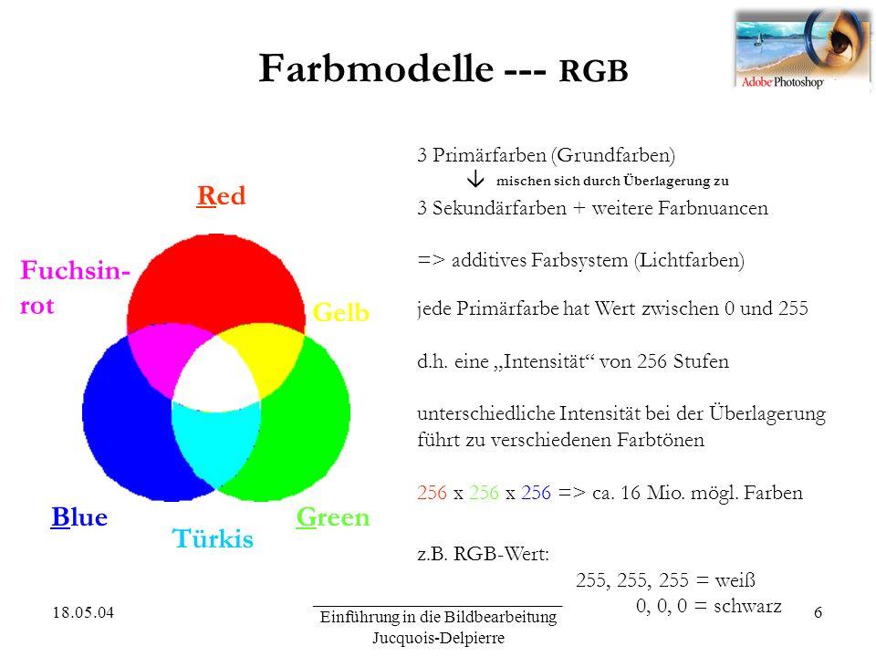 18.05.04 _____________________________ Einführung in die Bildbearbeitung Jucquois-Delpierre 6 Farbmodelle --- RGB Red GreenBlue 3 Primärfarben (Grundfarben) mischen sich durch Überlagerung zu 3 Sekundärfarben + weitere Farbnuancen => additives Farbsystem (Lichtfarben) Türkis Fuchsin- rot Gelb jede Primärfarbe hat Wert zwischen 0 und 255 d.h.