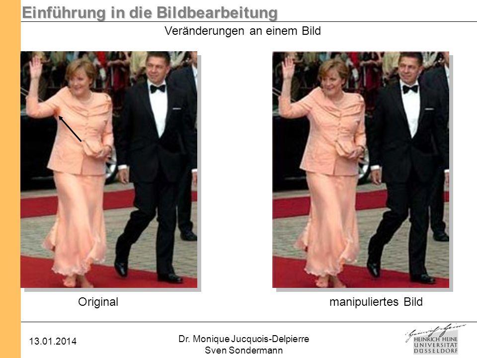 Einführung in die Bildbearbeitung 13.01.2014 Dr. Monique Jucquois-Delpierre Sven Sondermann Originalmanipuliertes Bild Veränderungen an einem Bild