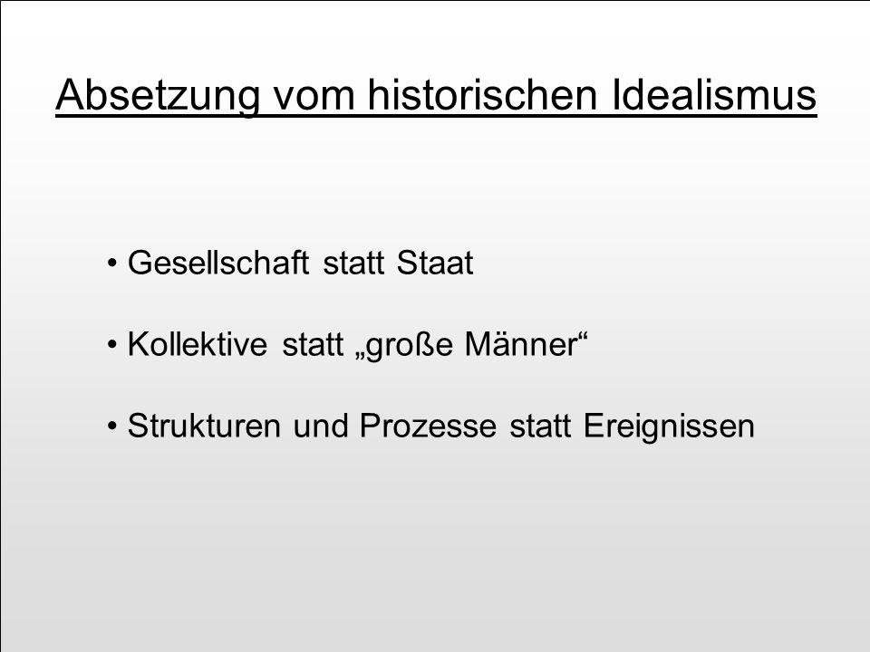Absetzung vom historischen Idealismus Gesellschaft statt Staat Kollektive statt große Männer Strukturen und Prozesse statt Ereignissen