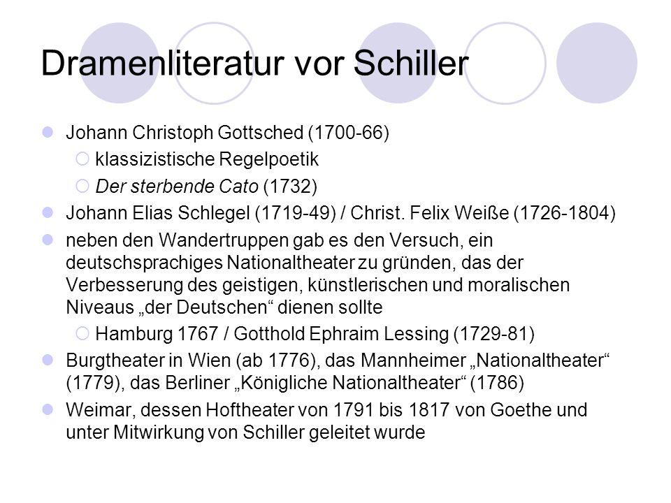 Dramenliteratur vor Schiller Johann Christoph Gottsched (1700-66) klassizistische Regelpoetik Der sterbende Cato (1732) Johann Elias Schlegel (1719-49