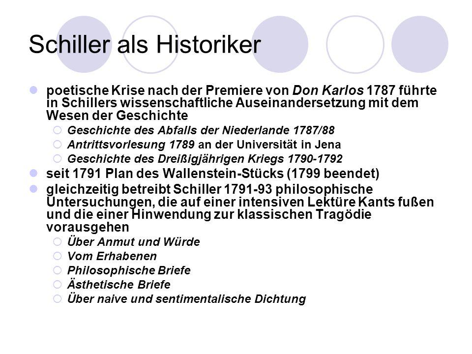 Schiller als Historiker poetische Krise nach der Premiere von Don Karlos 1787 führte in Schillers wissenschaftliche Auseinandersetzung mit dem Wesen d