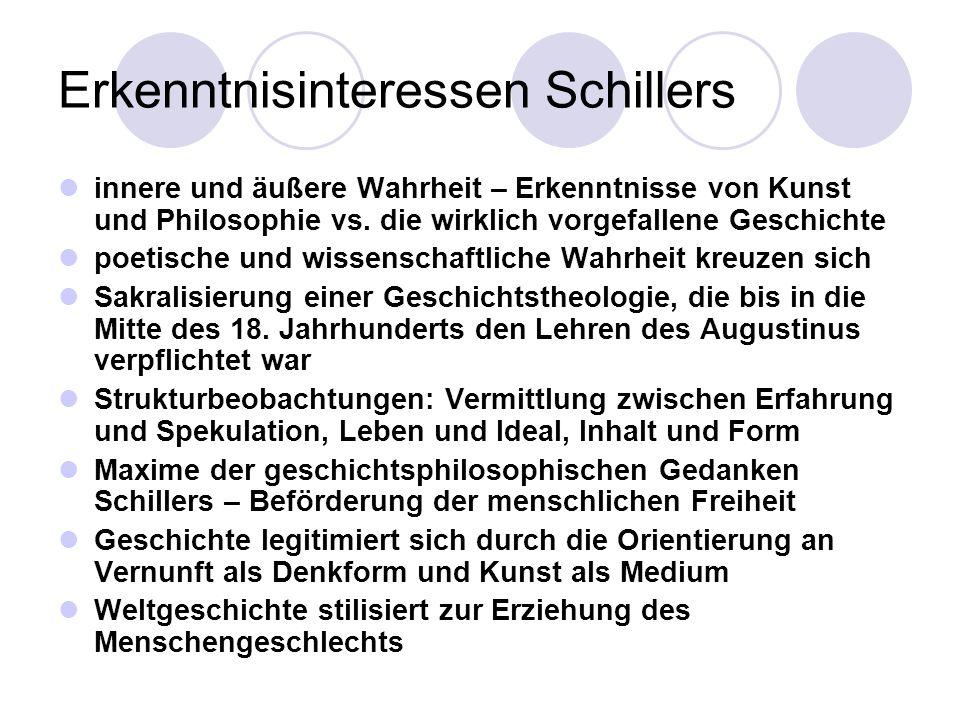 Erkenntnisinteressen Schillers innere und äußere Wahrheit – Erkenntnisse von Kunst und Philosophie vs. die wirklich vorgefallene Geschichte poetische