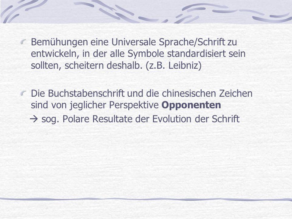 Bemühungen eine Universale Sprache/Schrift zu entwickeln, in der alle Symbole standardisiert sein sollten, scheitern deshalb. (z.B. Leibniz) Die Buchs