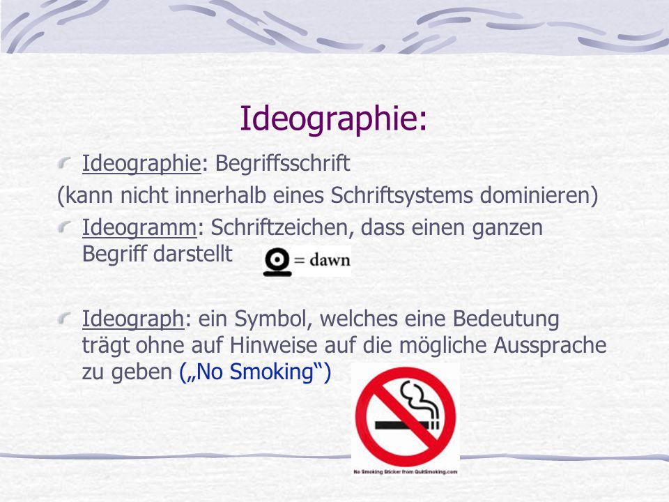 Ideographie: Ideographie: Begriffsschrift (kann nicht innerhalb eines Schriftsystems dominieren) Ideogramm: Schriftzeichen, dass einen ganzen Begriff
