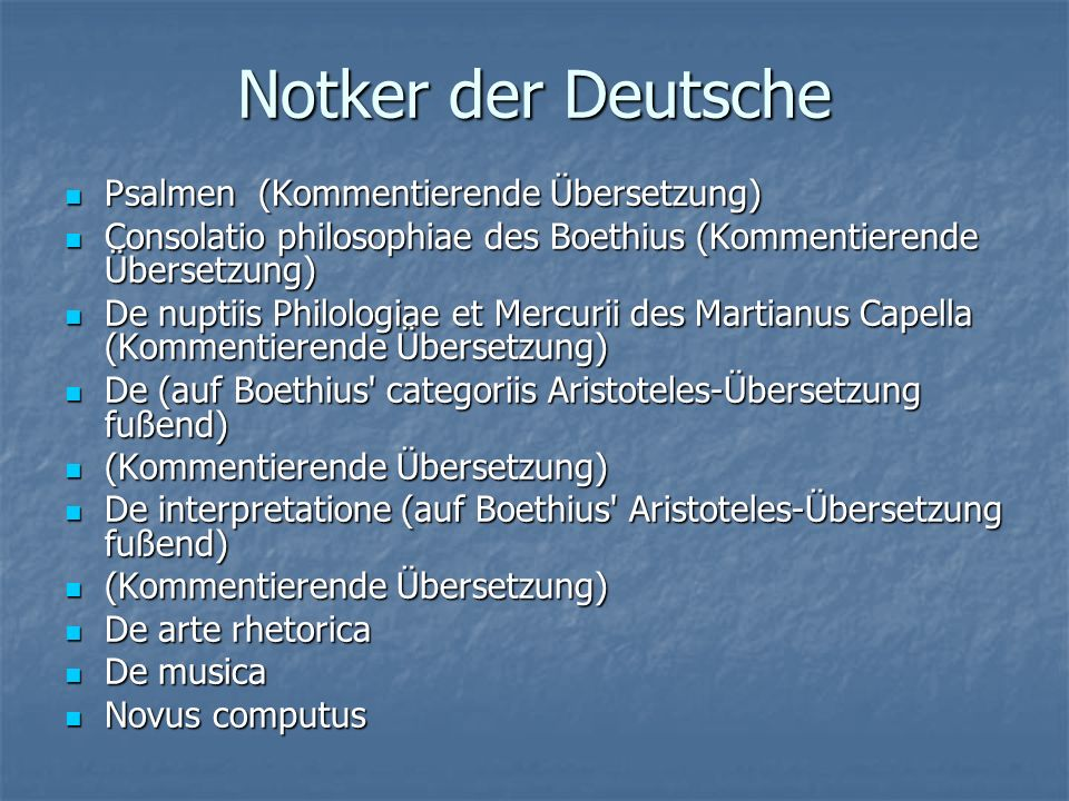 Notker der Deutsche Psalmen (Kommentierende Übersetzung) Psalmen (Kommentierende Übersetzung) Consolatio philosophiae des Boethius (Kommentierende Übe
