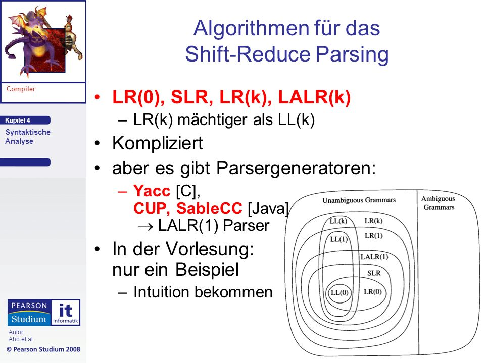 Kapitel 4 Compiler Syntaktische Analyse Autor: Aho et al. Algorithmen für das Shift-Reduce Parsing LR(0), SLR, LR(k), LALR(k) –LR(k) mächtiger als LL(