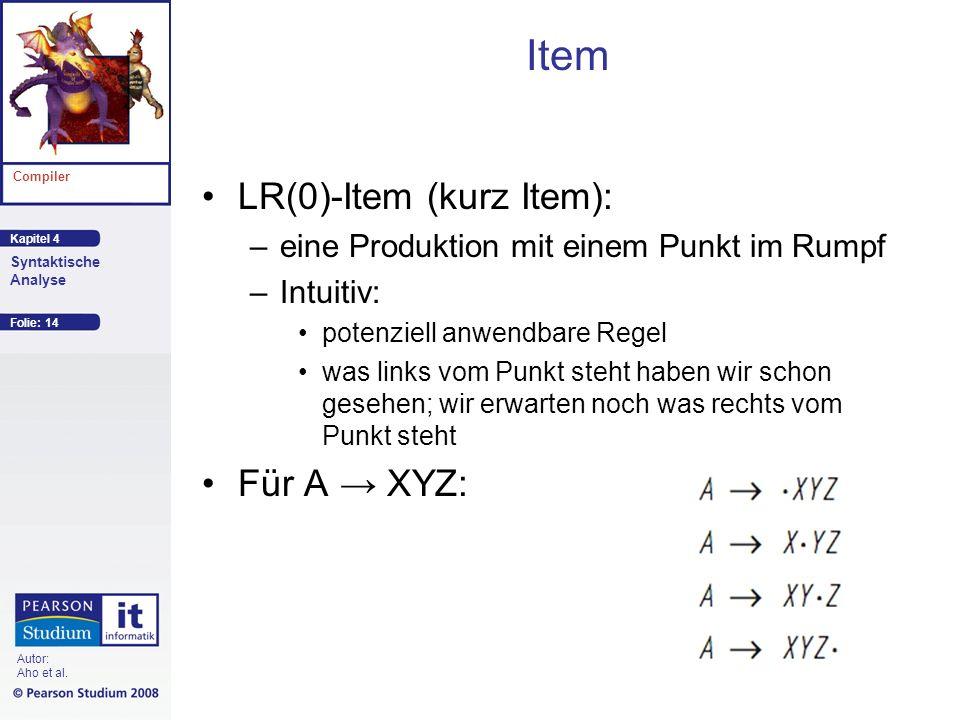 Kapitel 4 Compiler Syntaktische Analyse Autor: Aho et al. Item LR(0)-Item (kurz Item): –eine Produktion mit einem Punkt im Rumpf –Intuitiv: potenziell