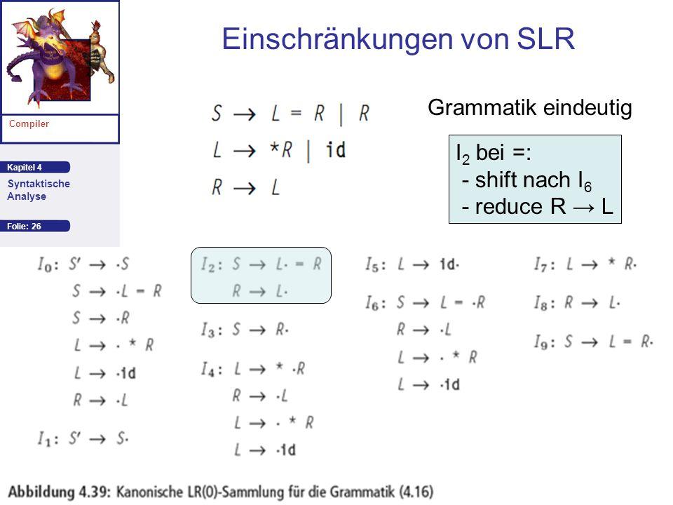 Kapitel 4 Compiler Syntaktische Analyse Autor: Aho et al. Einschränkungen von SLR Folie: 26 I 2 bei =: - shift nach I 6 - reduce R L Grammatik eindeut
