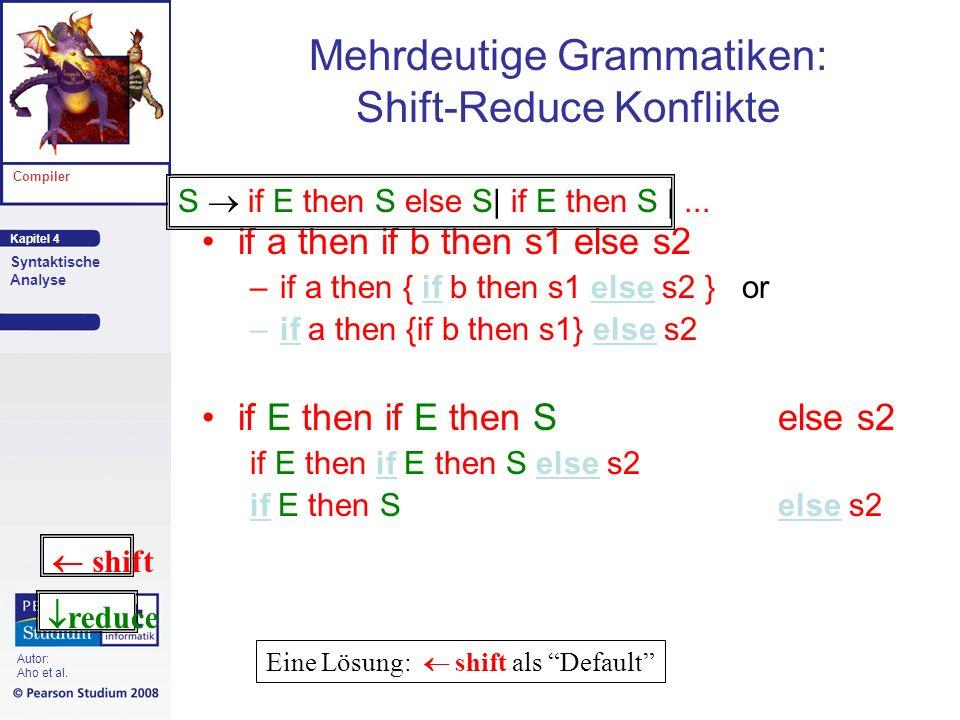 Kapitel 4 Compiler Syntaktische Analyse Autor: Aho et al. Mehrdeutige Grammatiken: Shift-Reduce Konflikte if a then if b then s1 else s2 –if a then {