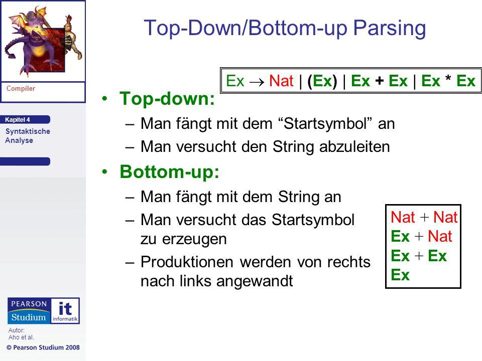 Kapitel 4 Compiler Syntaktische Analyse Autor: Aho et al. Top-Down/Bottom-up Parsing Top-down: –Man fängt mit dem Startsymbol an –Man versucht den Str