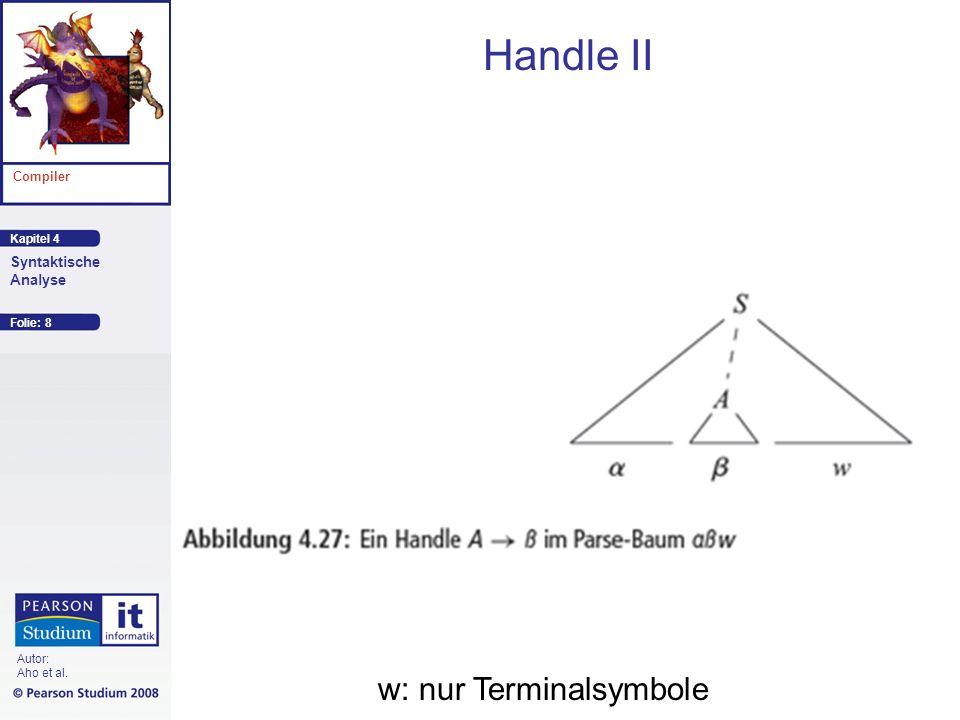 Kapitel 4 Compiler Syntaktische Analyse Autor: Aho et al. Handle II Folie: 8 w: nur Terminalsymbole