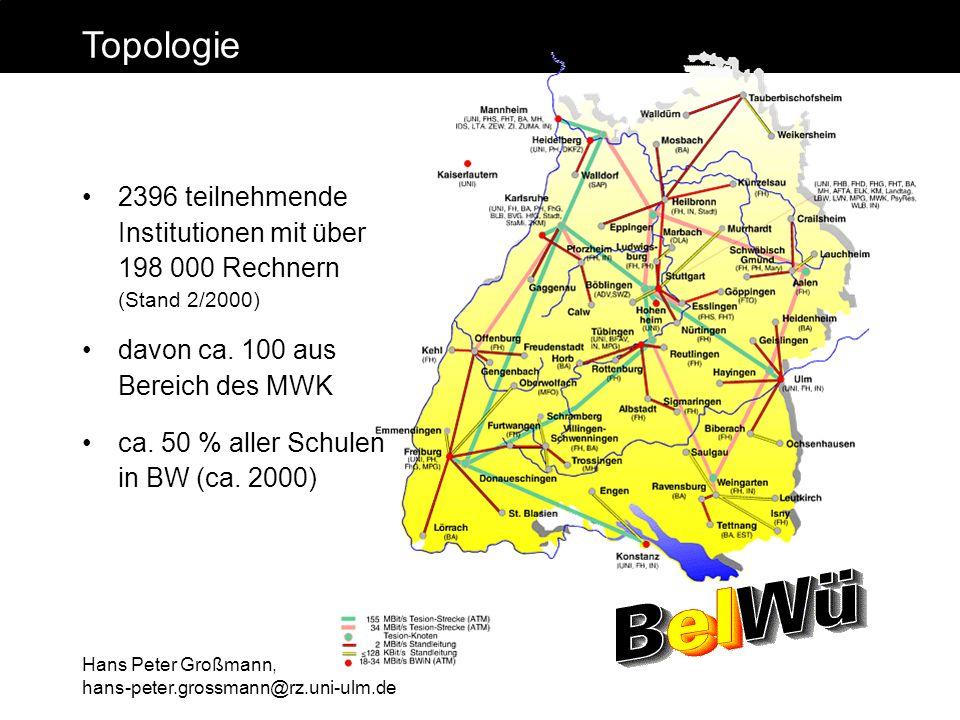 Hans Peter Großmann, hans-peter.grossmann@rz.uni-ulm.de Topologie 2396 teilnehmende Institutionen mit über 198 000 Rechnern (Stand 2/2000) davon ca. 1
