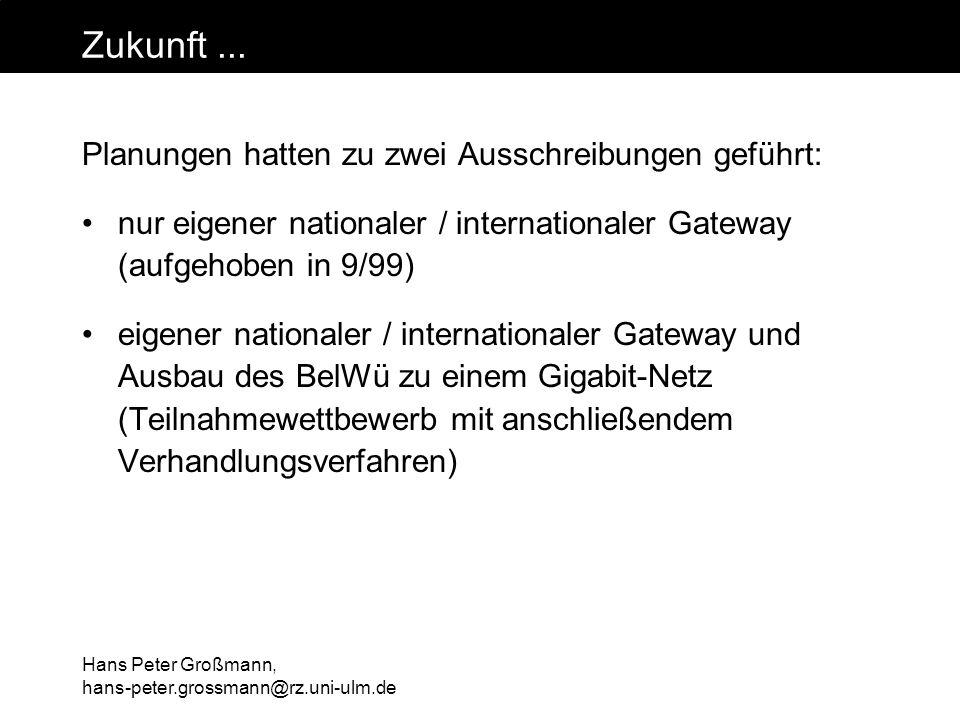 Hans Peter Großmann, hans-peter.grossmann@rz.uni-ulm.de Zukunft... Planungen hatten zu zwei Ausschreibungen geführt: nur eigener nationaler / internat