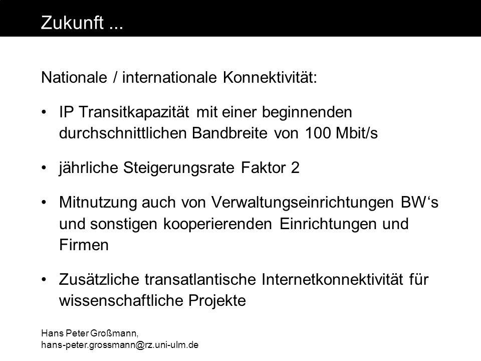 Hans Peter Großmann, hans-peter.grossmann@rz.uni-ulm.de Zukunft... Nationale / internationale Konnektivität: IP Transitkapazität mit einer beginnenden