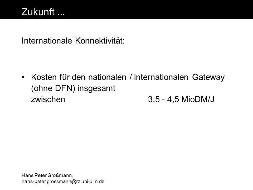 Hans Peter Großmann, hans-peter.grossmann@rz.uni-ulm.de Zukunft... Internationale Konnektivität: Kosten für den nationalen / internationalen Gateway (
