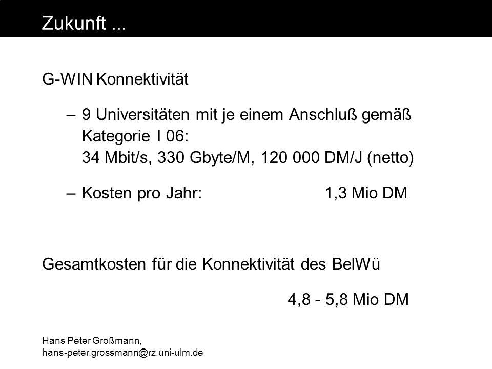 Hans Peter Großmann, hans-peter.grossmann@rz.uni-ulm.de Zukunft... G-WIN Konnektivität –9 Universitäten mit je einem Anschluß gemäß Kategorie I 06: 34