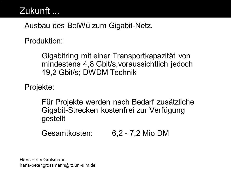 Hans Peter Großmann, hans-peter.grossmann@rz.uni-ulm.de Zukunft... Ausbau des BelWü zum Gigabit-Netz. Produktion: Gigabitring mit einer Transportkapaz