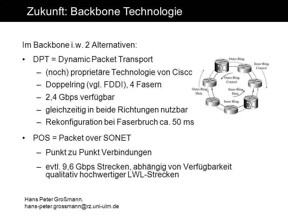 Hans Peter Großmann, hans-peter.grossmann@rz.uni-ulm.de Im Backbone i.w. 2 Alternativen: DPT = Dynamic Packet Transport –(noch) proprietäre Technologi