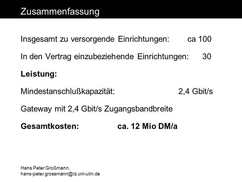 Hans Peter Großmann, hans-peter.grossmann@rz.uni-ulm.de Zusammenfassung Insgesamt zu versorgende Einrichtungen: ca 100 In den Vertrag einzubeziehende