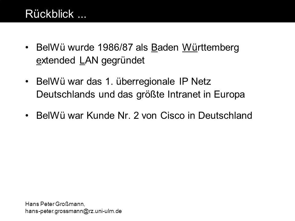 Hans Peter Großmann, hans-peter.grossmann@rz.uni-ulm.de Externe Anbindung Seit 15.10.1999 eigener nationaler / internationaler Gateway für die nichtuniversitären Einrichtungen von wechselnden Anbietern (XLINK, Telekom, UUNET) mit Bandbreiten von 34 - 155 Mbit/s (Kosten ca.